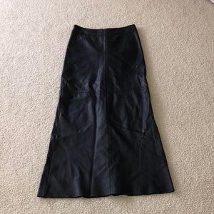 BCBG black leather long maxi skirt size 10